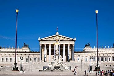 Parlament parliament building, Pallas-Athene-Brunnen fountain, Ringstrasse street, Vienna, Austria, Europe