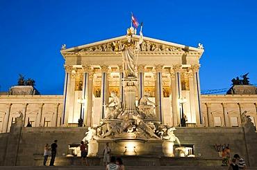 Parlament parliament building at dusk, Pallas-Athene-Brunnen fountain, Ringstrasse street, Vienna, Austria, Europe