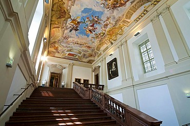 Staircase with ceiling frescoes by Johann Michael Rottmayr, Palais Liechtenstein, Vienna, Austria, Europe