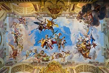 Ceiling frescoes by Johann Michael Rottmayr, Palais Liechtenstein, Vienna, Austria, Europe