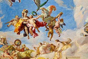 Ceiling frescoes by Johann Michael Rottmayr, The admittance of Military genius to Olympus, Palais Liechtenstein, Vienna, Austria, Europe