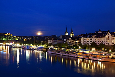 Sightseeing, cruise boats on the river, Koblenz by night Rhineland-Palatinate, Germany, Europe