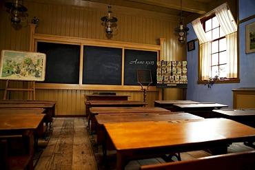 1905 school classroom, Zuiderzee museum, Enkhuizen, North Holland, Netherlands, Europe