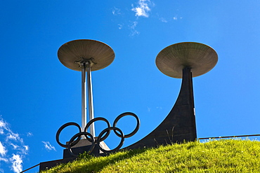 Olympia, Olympic fire on the Bergisel hill, Innsbruck, Tyrol, Austria, Europe