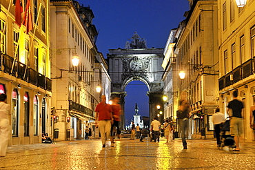 Rua Augusta street at night, pedestrian and shopping mile, Baixa District, Lisbon, Portugal, Europe