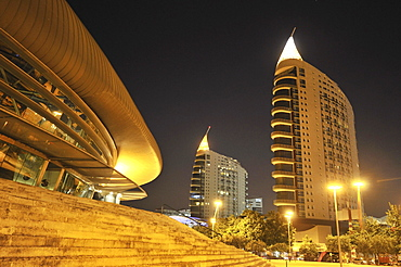 Modern architecture, Pavilhao Atlantico, left, and skyscrapers Sao Gabriel and Sao Rafael, right, in the Parque das Nacıes park, site of the Expo 98, Lisbon, Portugal, Europe