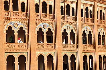 Detail of the facade of the Plaza de Toros Las Ventas, Las Ventas Bullring, Madrid, Spain, Iberian Peninsula, Europe