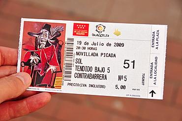 Admission ticket to Las Ventas Bullring, Madrid, Spain, Iberian Peninsula, Europe