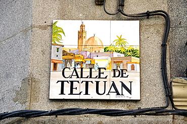 Street sign, Calle de Tetuan, Madrid, Spain, Iberian Peninsula, Europe