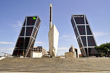 Monument to Jose Calvo Sotelo in front of Kio Towers, Torres Kio or Puerta de Europa, Plaza Castilla, Madrid, Spain, Iberian Peninsula, Europe