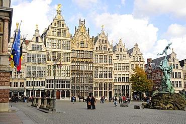 Former guild houses, Grote Markt square, Antwerp, Belgium, Europe