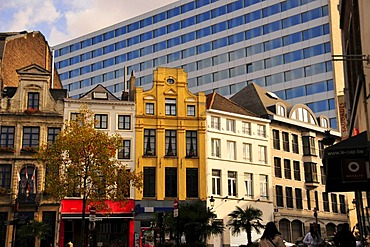Facades in the historic town centre, Brussels, Belgium, Europe