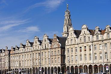 Public houses and Town Hall Tower, Grand Place, Arras, Nord Pas-de-Calais, Normandy, France, Europe, PublicGround