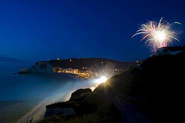 Fireworks, Falaise d'Amont, Etretat, Haute Normandie, France, Europe