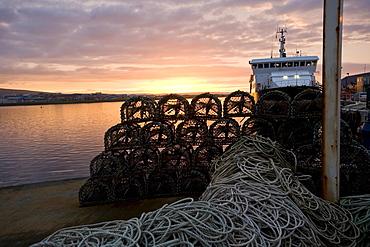 Fishing weirs and fishing boat, harbor, Kirkwall, Orkney Islands, Scotland, United Kingdom, Europe
