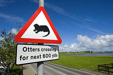 "Warning label, ""otters crossing"", Kirkwall, Orkney Islands, Scotland, United Kingdom, Europe"