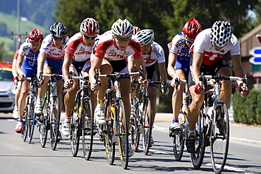 Group of cyclists cycling in the GP Tell 2009, Switzerland, Europe
