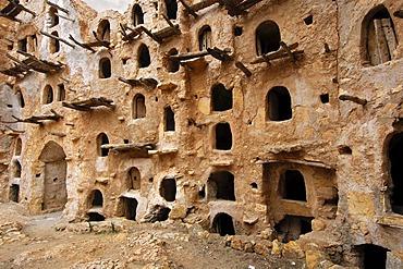 Open storage space in the inner wall of the Berber granary Qasr al-Haj, Nafusa Mountains, Libya, Africa