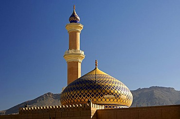 Minaret and dome of the Great Mosque in Nizwa, Sultanate of Oman, Middle East