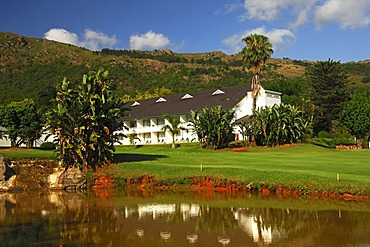 The Royal Swazi Spa Hotel at a pond in a tropical landscape, Ezulwini, Swaziland, Africa