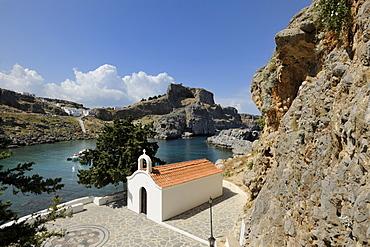 Chapel at Apostle Paul's Bay, Agios Pavlos Bay, Lindos, Rhodes, Greece, Europe