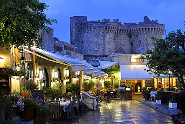 Taverns in front of Thalassini Gate, Rhodes Town, Rhodes, Greece, Europe