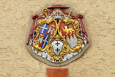 Coat of arms of the Bishopric of Speyer under cardinal Damian Hugo Graf von Schoenborn, Bruchsal, Baden-Wuerttemberg, Germany, Europe