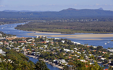 View of Noosa Heads with Noosa River, rear Mount Cooroora, King of the Mountain Race, Queensland, Australia