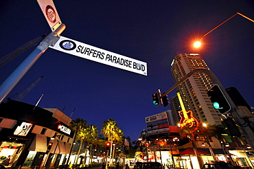 Hard Rock Cafe, night shot, Surfers Paradise, Gold Coast, New South Wales, Australia