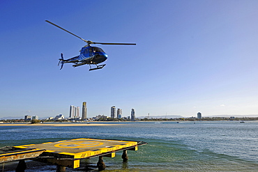 Helicopter taking off from a platform, Sea World, Surfers Paradise, Gold Coast, New South Wales, Australia