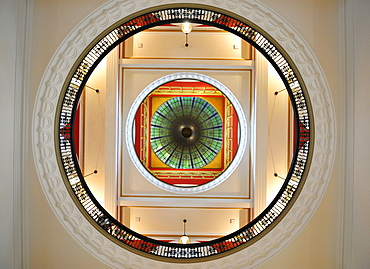 Glass ornamentation, glass vaulted roof, large central dome, QVB, Queen Victoria Building, shopping centre, Sydney, New South Wales, Australia