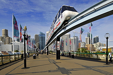 Monorail on Pyrmont Bridge, Darling Harbour, Sydney, New South Wales, Australia