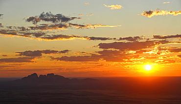 Aerial view of Kata Tjuta, The Olgas at sunset, Uluru-Kata Tjuta National Park, Northern Territory, Australia