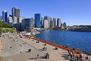 Tourists, view of Sydney Cove, Circular Quay, port, skyline of Sydney, Central Business District, Sydney, New South Wales, Australia