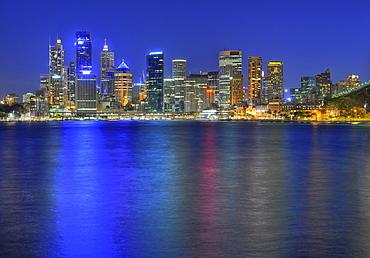 View of Sydney Cove, Circular Quay, port, Sydney skyline, Central Business District, night, Sydney, New South Wales, Australia