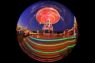 Night scene, fisheye shot, Chair-O-Planes or Swing Carousel, Cannstatt Festival, Stuttgart Beer Festival, Stuttgart, Baden-Wuerttemberg, Germany, Europe