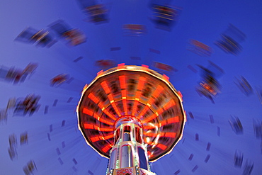 Night scene, fisheye shot, Chair-O-Planes or Swing Carousel, Cannstatt Festival, Stuttgart Beer Festival, Stuttgart, Baden-Wuerttemberg, Germany, Europe