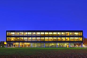 Night shot of the Landtag parliament building of Baden-Wuerttemberg, Stuttgart, Baden-Wuerttemberg, Germany, Europe