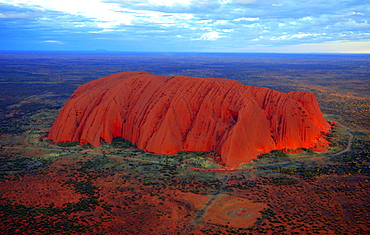 Ayers Rock, Uluru, in the evening sun, aerial view, Northern Territory, Australia