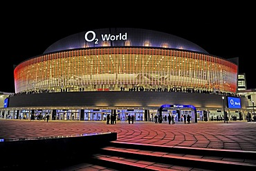 O2 World, a multi-purpose indoor arena for up to 17000 spectators, night scene, Berlin, Germany, Europe