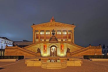 Alte Nationalgalerie Old National Gallery, Museumsinsel Museum Island, UNESCO World Heritage Site, Berlin, Germany, Europe, night scene