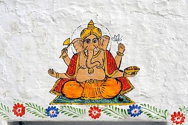 Wall painting of Ganesha, the elephant-headed god, Jagdish Temple, Udaipur, Rajasthan, North India, India, South Asia, Asia