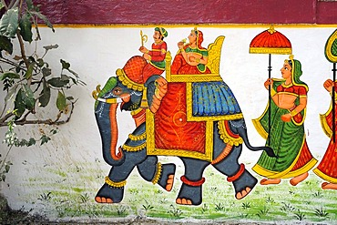 Mural, decorated elephant with rider and litter, Udaipur, Rajasthan, North India, India, South Asia, Asia