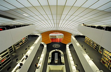 Library of the Free University of Berlin, called the Berlin Brain, by architect Sir Norman Foster, Berlin-Dahlem, Berlin, Germany, Europe