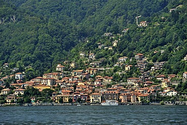 View towards a town over Lake Maggiore, Cannero Riviera, Piedmont, Italy, Europe