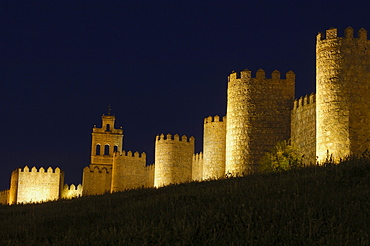 avila city wall at dusk, Castilla-Leon, Spain, Europe