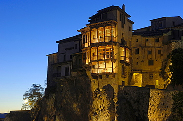 The Hanging Houses at dusk, Cuenca, UNESCO World Heritage Site, Castilla-La Mancha, Spain, Europe