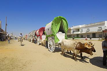 """Pilgrims at El Rocio village, """"Romeria"""", pilgrimage, to El Rocio, Almonte, Huelva province, Andalucia, Spain, Europe"""