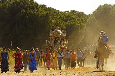 """Pilgrims road to el Rocio Village, """"Romeria"""", pilgrimage, to El Rocio, Almonte, Huelva province, Andalucia, Spain, Europe"""