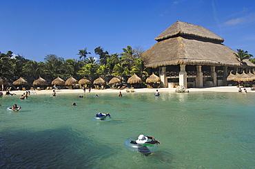 Beach area, Xcaret, Eco-archeological park, Playa del Carmen, Quintana Roo state, Mayan Riviera, Yucatan Peninsula, Mexico